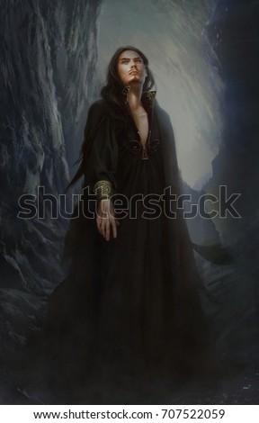 Digital Illustration Full Figure Realistic Dark Stock