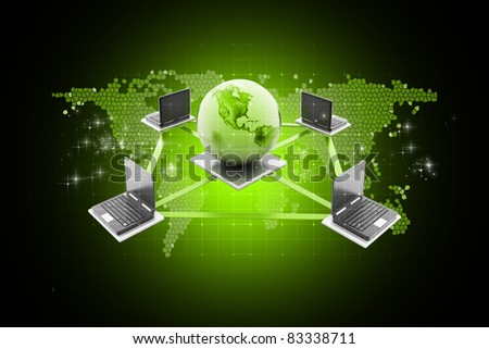 Digital illustration of Global Computer Network concept in color background - stock photo