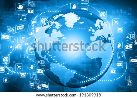 Digital illustration  of globe with conceptual icons. Globalization concept - stock photo