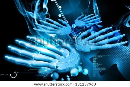Digital illustration of hand bone in colour background