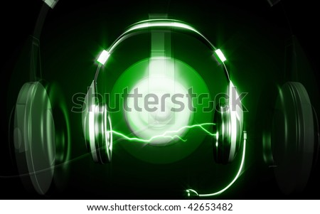 Digital illustration  of headphone  in colour background - stock photo