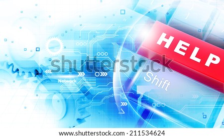 Digital illustration of help key - stock photo