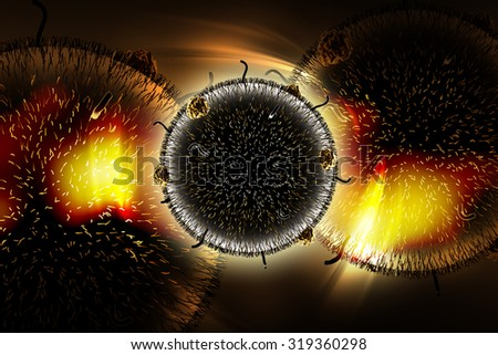 Digital illustration of HIV Virus in color background - stock photo