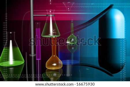 Digital illustration of laboratory equipments, forceps and capsule