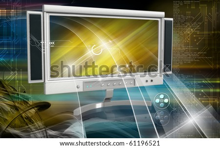 Digital illustration of LCD Monitor in color background	 - stock photo