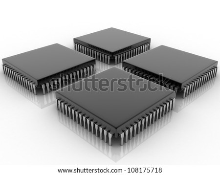 digital illustration of microchip - stock photo