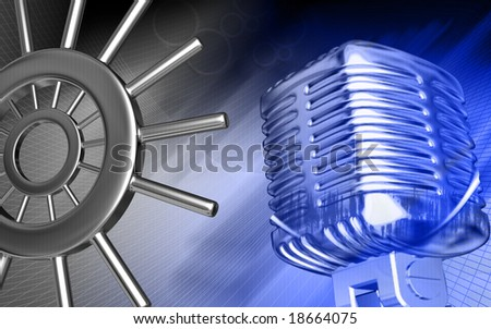 Digital illustration of microphone in blue  colour 	 - stock photo