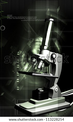 Digital illustration   of microscope in colour background - stock photo