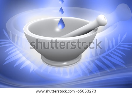 Digital illustration of Mortar and Pestle in colour background - stock photo