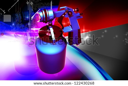 Digital illustration of nozzle spray gun in colour background - stock photo