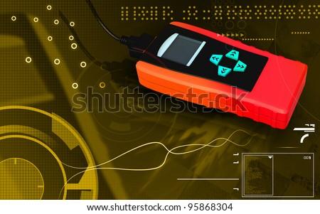 Digital illustration of OBD II reader in colour background - stock photo
