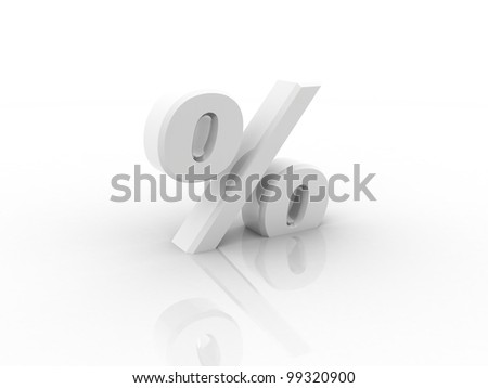 Digital illustration of Percentage sign in 3d on white background - stock photo