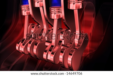 digital illustration of pistons working in a four stroke engine