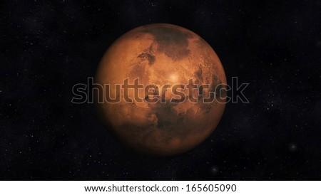 Digital Illustration of Planet Mars - stock photo