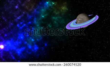 Digital Illustration of Planet Saturn and air space - stock photo