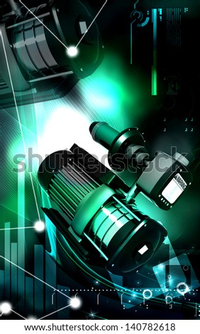 Digital illustration of pressure pump in colour background
