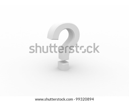 Digital illustration of  Question mark in 3d on digital white background
