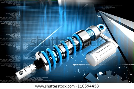 Digital illustration of Shock absorber in colour background