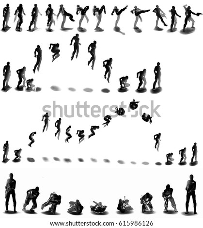 Digital Illustration Silhouette Figure Drawing Sequence Stock ...