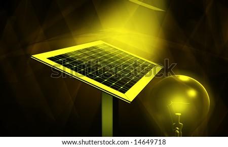 digital illustration of solar panel and filament bulb - stock photo