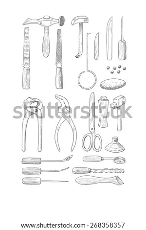 Digital illustration of some shoemaker tools