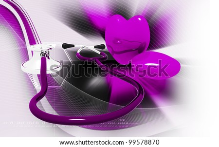 Digital illustration  of stethoscope and heart in colour background