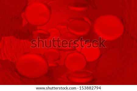 digital illustration of streaming blood cells - stock photo