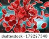 Digital illustration of streaming blood cells in colour background - stock photo