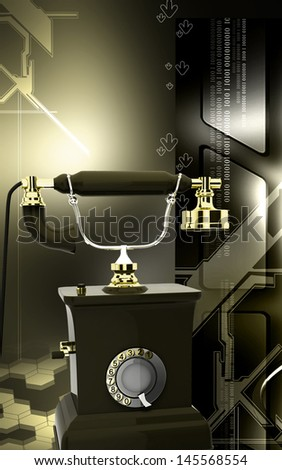 Digital illustration of Telephone in colour background - stock photo