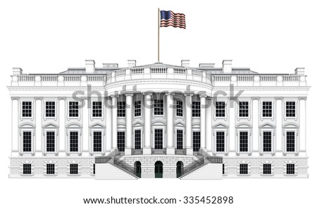Digital illustration of the south view of the White House. Includes a clipping path. - stock photo