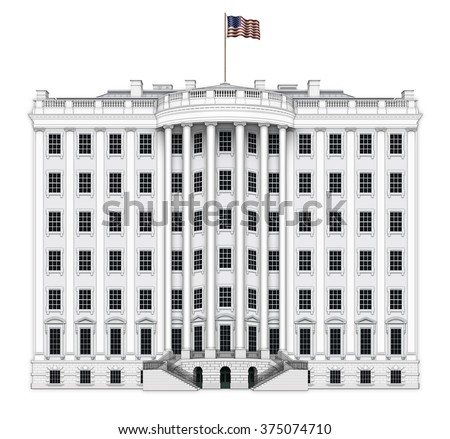 Digital illustration of the south view of the White House, with four extra floors added. Includes a clipping path. - stock photo