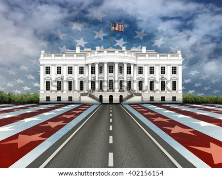 Digital illustration of the White House, a road leading to it, overlayed with stars and stripes. - stock photo