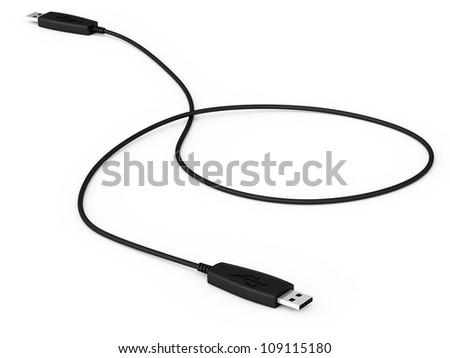 Digital illustration of USB data cable in white background/ USB Data Cable - stock photo