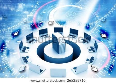 Digital illustration of Wireless computer network - stock photo
