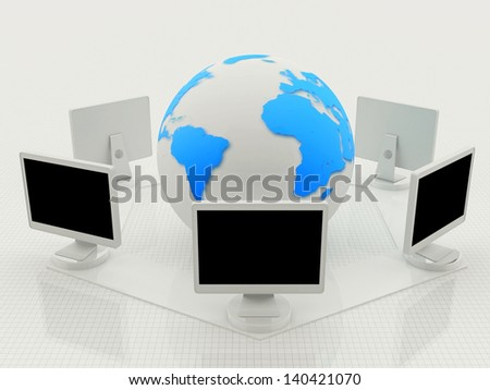 Digital illustration of world wide web in white background - World Wide Web Concept - stock photo
