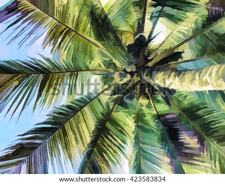 Digital illustration - palm tree, abstract color, green leaf of coco palm tree, palm tree illustration, palm tree picture, palm tree with coconuts, palm tree image, palm tree fluffy leaves - stock photo