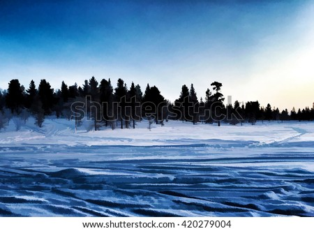Digital illustration - winter landscape. Tranquil pine forest. Beautiful winter landscape at morning with forest and snow. Winter landscape background. Winter landscape design. Winter landscape scene. - stock photo