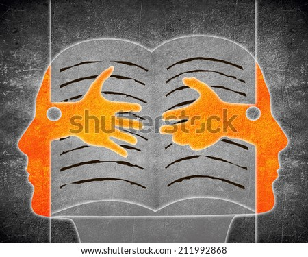 digital illustration with two person and book - stock photo