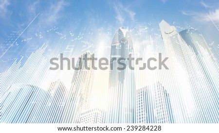 Digital image of bottom view of tall skyscraper - stock photo