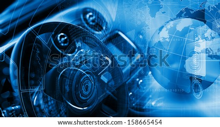 Digital image of car steering wheel with icons - stock photo