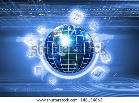 Digital image of globe with conceptual icons. Elements of this image are furnished by NASA