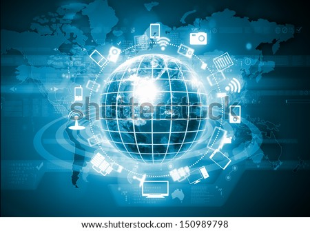 Digital image of globe with conceptual icons. Globalization concept. Elements of this image are furnished by NASA - stock photo