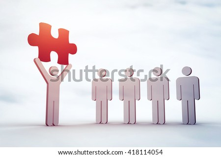 Digital image of human holding blue jigsaw piece by competitors against cloudy sky