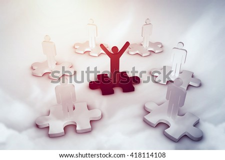 Digital image of human standing on jigsaw against blue sky