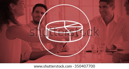 Digital image of pie chart against business partners shaking hands - stock photo