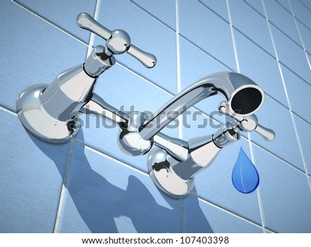 digital image that simulates a drop of water falling below a tap outside - stock photo