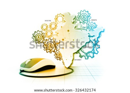 Digital India internet technology - stock photo