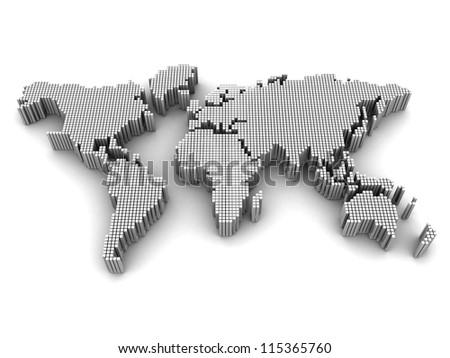 Digital international map over white background, 3d illustration - stock photo