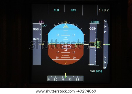 digital jet airplane flight instruments in the cockpit