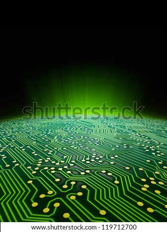 Digital landscape consisting of a glowing green sci-fi sunrise over a printed circuit board formatted for use as a report cover for a technology firm - stock photo